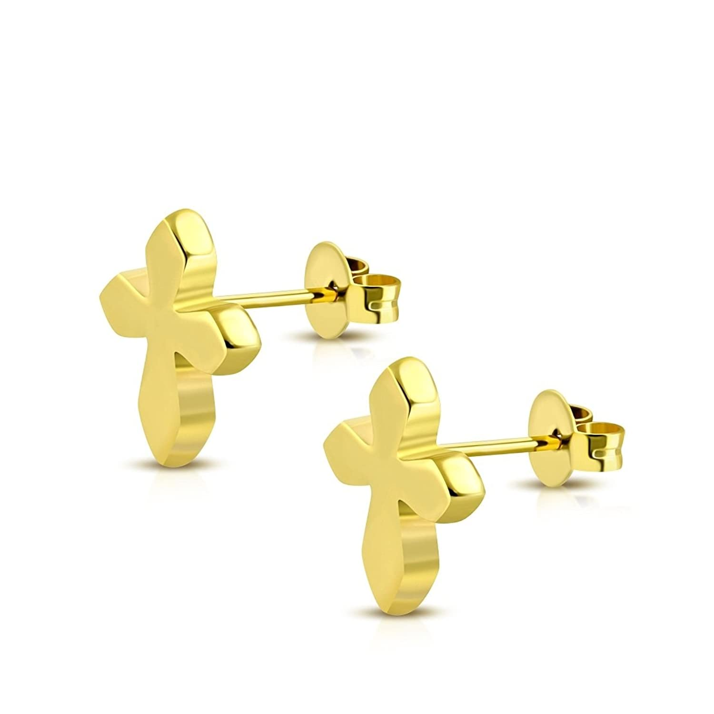 Stainless Steel Gold Color Plated Medieval Cross Stud Earrings (Pair)