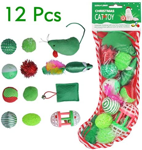 EXPAWLORER 12 PCS Christmas Cat Toys Green Package, Including Ball, Mouse, Bell 2