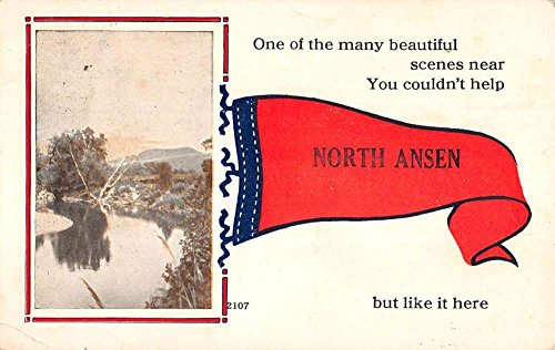 North Ansen Maine Scenic Waterfront Pennant Flag Antique Postcard K76581