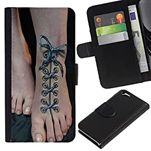 APlus Cases // Apple Iphone 6 4.7 // Piel Arte calzado cordones Hermoso Pies // Cuero PU Delgado caso Billetera cubierta Shell Armor Funda Case Cover Wallet Credit Card