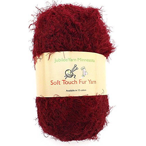 JubileeYarn 100g Soft Touch Fuzzy Fur Yarn, Crimson 2 Skeins (Rug Rug Medium Crimson)