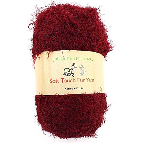 JubileeYarn 100g Soft Touch Fuzzy Fur Yarn, Crimson 2 ()