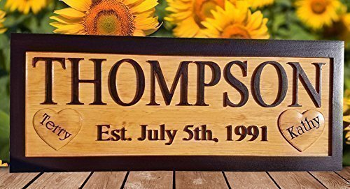 Personalized Family Name Sign Custom Wedding Gift For The Couple 5th Anniversary