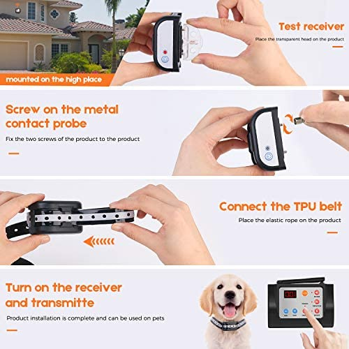 Hokita Dog Fence Wireless Training Training Collar Outdoor 2-in-1,Electric Pet Containment System,Waterproof Reflective Stripe Collar, Harmless for All Dogs