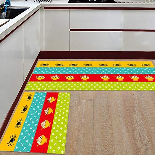 Prime Leader 2 Piece Non-Slip Kitchen Mat Runner Rug Set Doormat Halloween Eyeball Candy and Spider Door Mats Rubber Backing Carpet Indoor Floor Mat (23.6