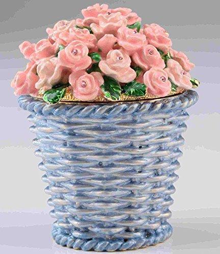 - Keren Kopal Pink Flowers in Basket Faberge Styled Trinket Box by Home Decor Decorative Box