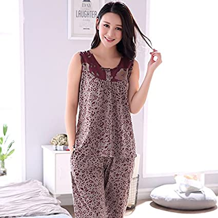 MH-RITA Verano pijama mujer moda chaleco sin mangas de algodón pijama casual casa pequeña