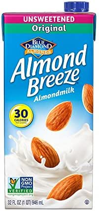 Almond Breeze Dairy Free Almondmilk, Unsweetened Original, 32 Ounce (Pack of 12)