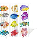 Clear Shower Curtain with Fish MYMYU Shower Curtain, Cartoon Cute Colorful Fish with Sea Animals and Baby Summer Designs Pink Creatures Flat Waterproof Polyester Fabric with Hooks,70.8''×78.7'', Multicolor