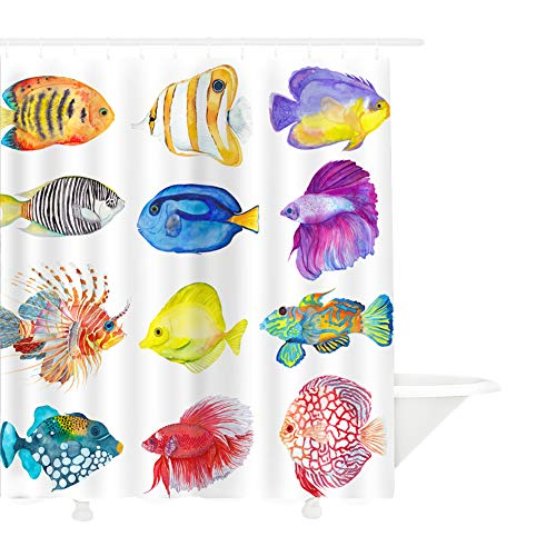 MYMYU Cartoon Decor Shower Curtain Set, Waterproof Sea Tropical Colorful Fishes Coral Fabric Bathroom Decor with Hooks for Kids and Baby, Bathroom Accessories,70.8''×78.7'' (Fish) (Curtain Fish Clear Shower)
