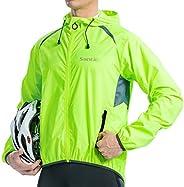 Santic Jacket Wind-Shell Cycling-Coat Windbreaker - Neon Green Light Visible Men's Long Sleeve Bicycle Ho