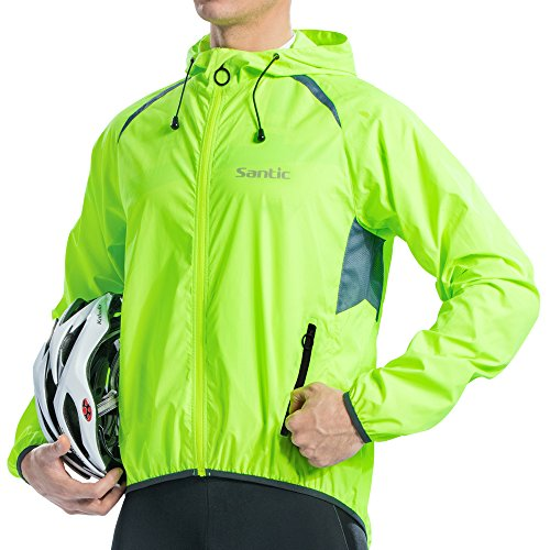 Long Sleeve Wind Jacket - Santic Mens Windproof Cycling Jackets with Hoodie Bike Reflective Rain Jacket Long Sleeve Bicycle Wind Coat