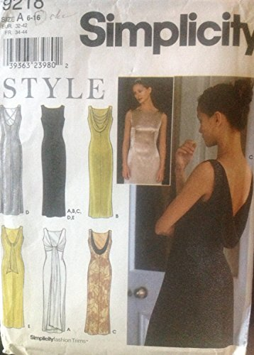 Simplicity 9218 Sewing Pattern for Misses 6-8-10-12-14-16 Sleeveless Evening Dress Gown with Side Zipper, Tie Ends in Back, or Back Cowl Drape, or X-beads Trimmed Back, or Contrast Back Drape