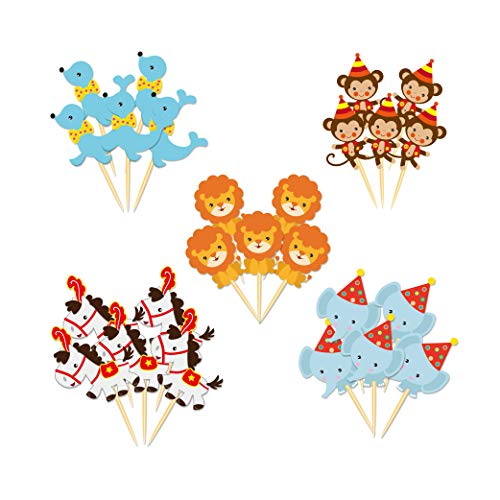 CC HOME 20 Pieces Circus Animal Cupcake Topper,Carnival
