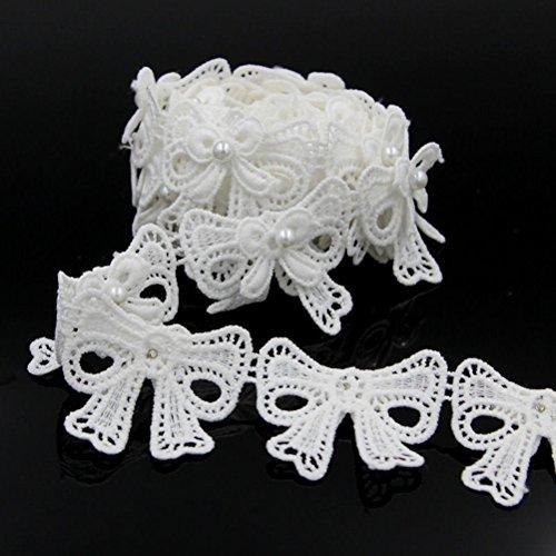DE.DE. White Bow Lace Applique Trim Flower Embroidery Applique Sewing Craft 2 Yards