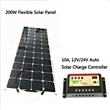 GOWE flexible solar panel 200w 18VDC monocrystalline solar cell with 1M connection wire charge 12V battery