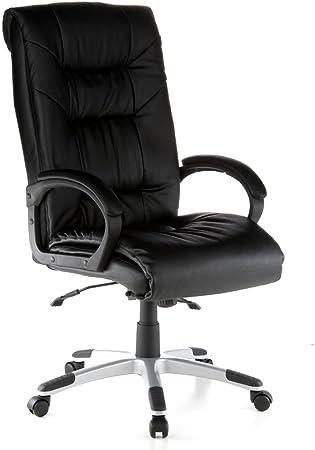 hjh OFFICE 621560 chaise de bureau, fauteuil de direction PRESIDENT SOFT noir en cuir, avec accoudoirs, grand confort d'assise grâce à son rembourrage
