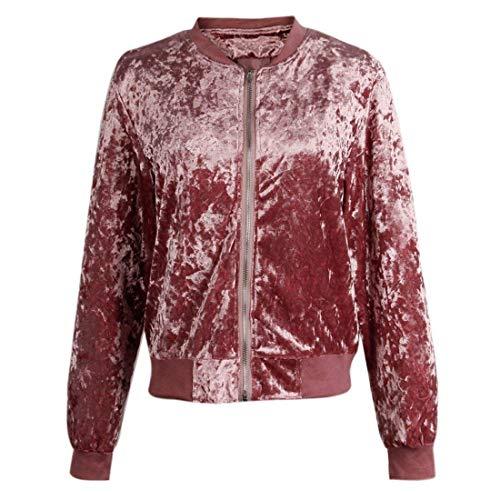 Cerniera Outwear Battercake Jacket Fashion Velluto Casuale Pilot Donna Con Rosa Sportivo Giacca Donne Puro Libero Colore Leggero Elegante Maniche Tempo Comodo Coat Lunghe f7y6bIYgvm