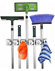 Home-it Mop and Broom Holder, Wall Mounted Garden Tool Storage Tool Rack Storage & Organization for the Home Plastic Hanger for Closet Garage Organizer Shed Organizer Basement Storage General Storage