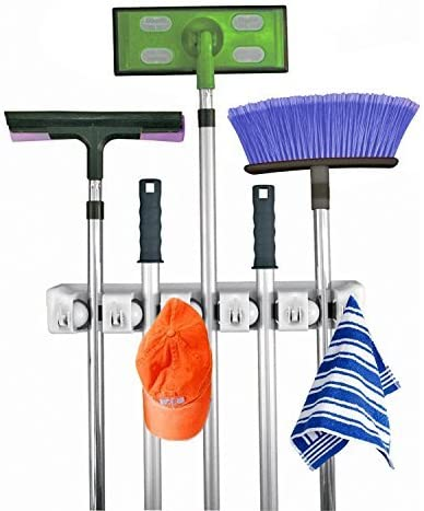 Amazon Com Home It Mop And Broom Holder 5 Position With 6 Hooks Garage Storage Holds Up To 11 Tools Storage Solutions For Broom Holders Garage Storage Systems Broom Organizer For Garage Shelving