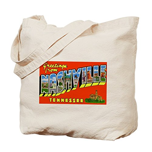 CafePress - Nashville Tennessee Greetings - Natural Canvas Tote Bag, Cloth Shopping - Tn Shopping Nashville