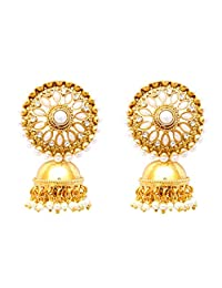 Girl & Women's Pearl Made Traditional Ethnic Indian White Clip Jhumki Earring set jewelry