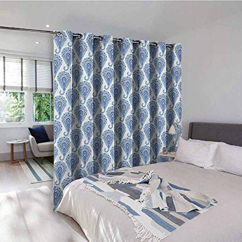 (Indigo Thermal Gromets Curtain Window Drapes 2 Panel , Ethnic Paisley Motif with Floral Leaves Print on Raindrops Room Darkening Curtains, Turquoise Sky Blue and Navy Blue, W72 x L63 Inches)