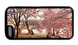 Hipster iPhone 5C cases unique park cherry blossoms TPU Black for Apple iPhone 5C