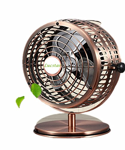 Lucstar Retro USB Fans Personal Vintage Table Desk Art Decoration for Office Home Bedroom Business Gift, Quiet Design 6Inch