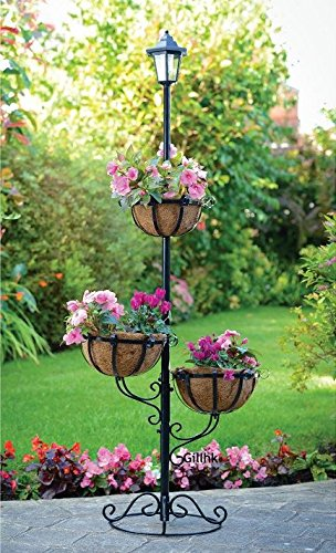 New Solar Powered 3 Tier Plant Stand Outdoor Garden Stylish Flower Planter Solar a2z-discounts