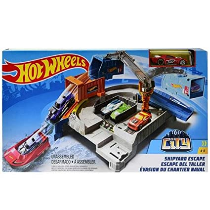 Amazon com: Hot Wheels Mattel City Shipyard Escape Set: Toys & Games