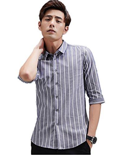 誕生日保証嵐高品質 シャツ メンズ シャツ メンズ ワイシャツ 細身 スリム 七分袖 メンズ シャツ ボタンアップ ストライプ シャツ カジュアル 绵 春 夏 秋 2903