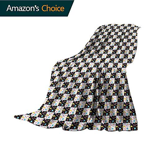 - Colorful Weighted Blanket Adult,Black and White Checkered Pattern with Lively Colored Dots Modern Geometric Tile Super Soft Faux Fur Plush Decorative Blanket,35