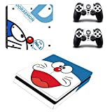Doraemon ps4 slim skin decal for console and 2 controllers