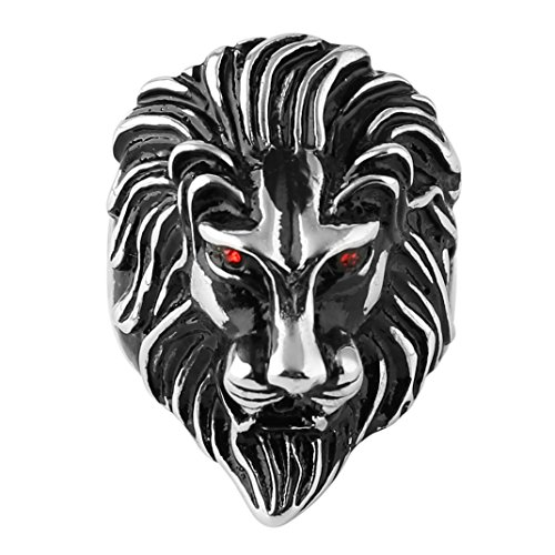 HZMAN Men's Vintage 316L Stainless Steel Lion Ruby Eyes Rings Heavy Metal Rock Punk Style Gothic Biker Ring Silver Gold Black 3 Colors (Silver, 7)]()