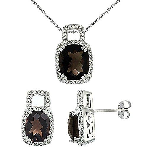 Or blanc 9carats Diamant naturel octogone Topaze fumée Boucles d'oreilles et pendentif de coussin Accents