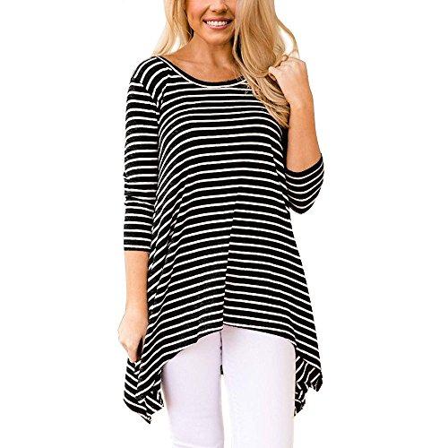 Zip Jacket Reversible 1/4 (Hot Sale Women Tops vermers Ladies Long Sleeve Stripe Irregular Hem O-Neck Casual Tunic Blouse Tee(XL, Black))