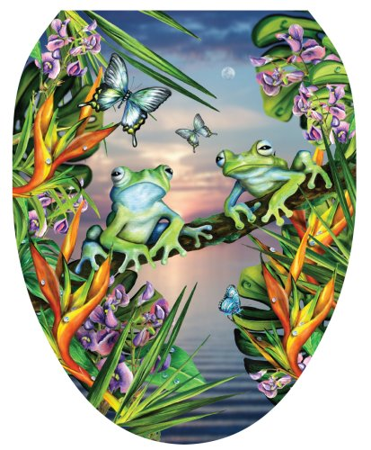 Toilet Tattoos TT-LS01-O Frogs in the Moonlight Design, Elongated - Moonlight Design
