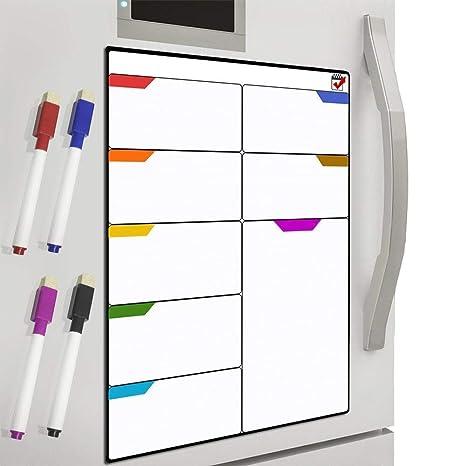 DUTISON Pizarra Planificadora de Comida y Plan Pizarra Blanca Magnética para Nevera Ideal para Planificar Estudios, Exámenes, Tareas (41 * 30cm)