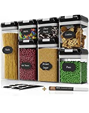 Airtight Food Storage Containers Set - 7 PC - Pantry Organization and Storage 100% Airtight, BPA Free Clear Plastic, Kitchen Canisters for Flour, Sugar and Cereal, Labels & Marker (Black)