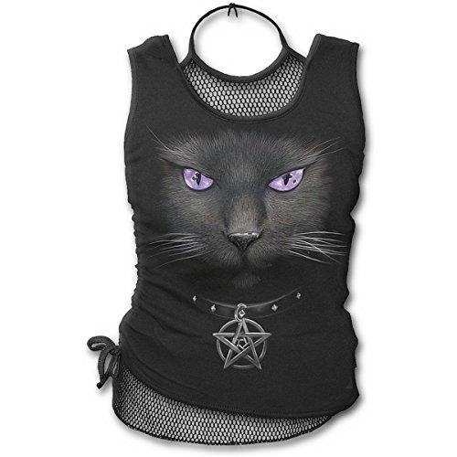 Spiral Black Cat 2 in 1 Netz Top, schwarz