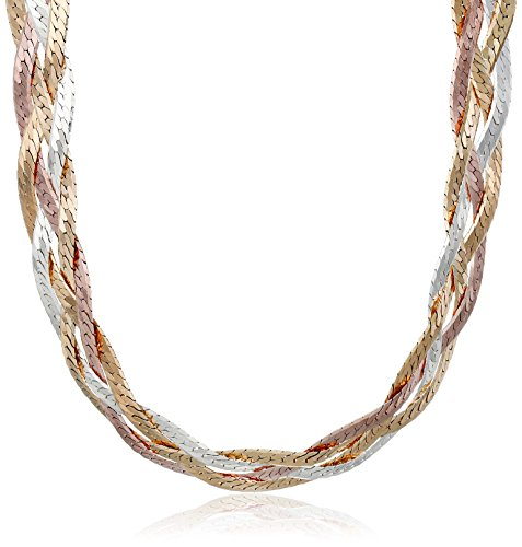 Sterling Silver Italian Tri-Color Four-Strand Braided Herringbone Chain Necklace, (Tri Color Necklace)