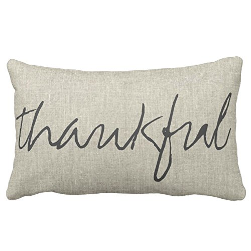(UOOPOO Thankful / Grateful | Double Sided Lumbar Lumba Throw Pillow Case Square 12 x 16 Inches Soft Cotton Canvas Home Decorative Wedding Cushion Cover for Sofa and Bed One Side)