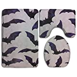 Halloween Bats 3 Piece Super Plush Bathroom Rugs Set Shaggy Anti Mite Bath Shower Mat U-shaped Lid Toilet Floor