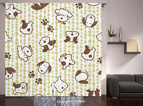 Thermal Insulated Blackout Window Curtain [ Kids,Modern Pattern with Puppy Dogs and Paws Doodle Style Print Home and Party Decorations Decorative,White Green ] for Living Room Bedroom Dorm Room Classr]()