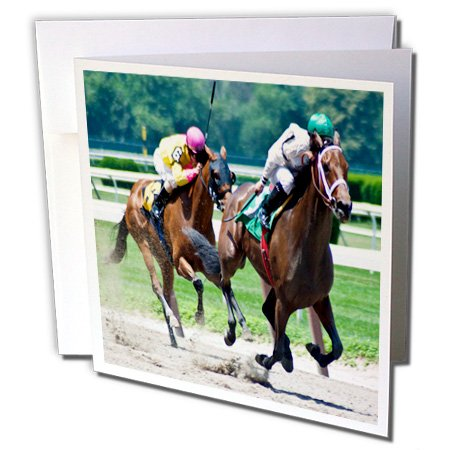 2 Horses racing towards finish line, - Greeting Cards, 6 x 6 inches, set of 12 (gc_112488_2) ()