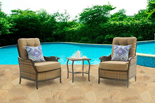 Hanover Hudson Square 3-Piece Wicker Patio Set Teak HUDSONSQ3PC