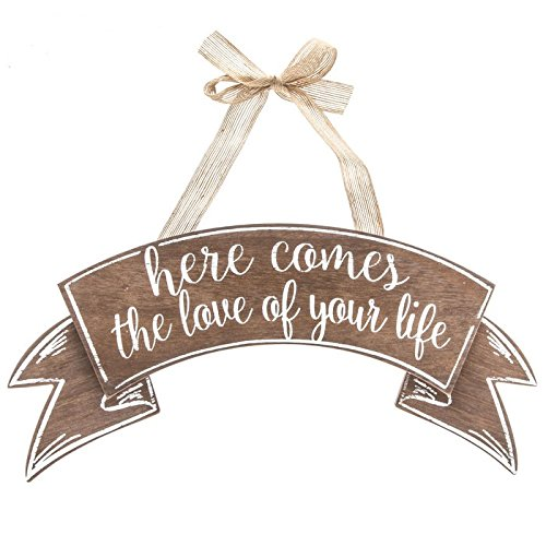Here Comes The Love of Your Life Wood Sign Wedding Decoration