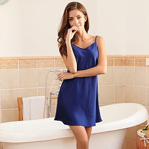 Camicia Reggiseno Spacco Gonna blu Seta In Sexy A Lunghezza Strappy Da Media Notte Di Pajama In A Tentazione Seta rBxtTFrqw