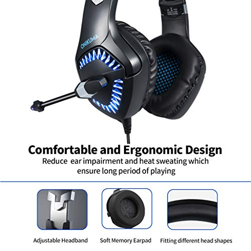 ONIKUMA K1-PRO Stereo Gaming Headset for Xbox One, PC, PS4 Over-Ear  Headphones with Noise Canceling Mic, Soft Breathing Earmuffs, LED Light,
